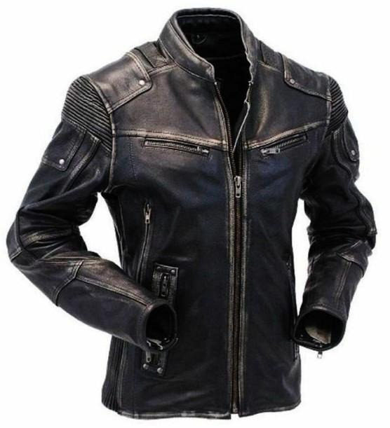 Men's Cafe Racer Brown Distressed Cowhide Leather Jacket