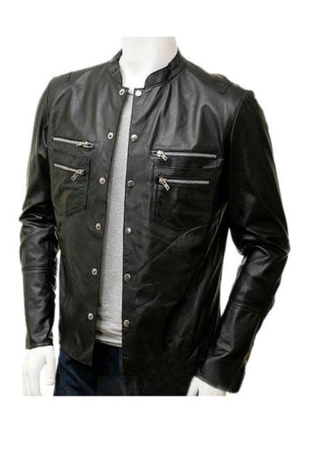 Men's Leather Casual Shirt Genuine Sheep Leather Jacket