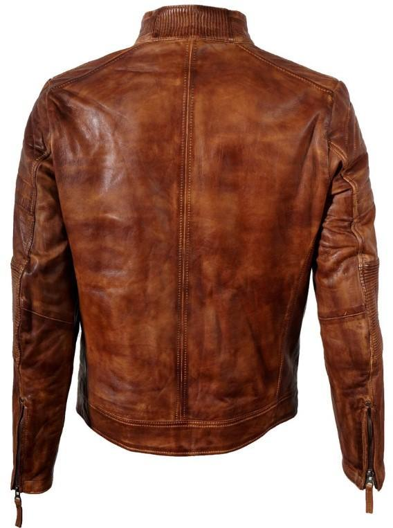 Wilson's Mens Brown Cafe Racer Genuine Leather Jacket