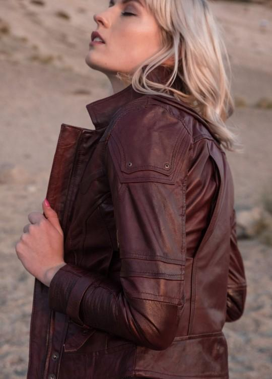 Womens Star lord gardians of the galaxay maroon leather jacket replica