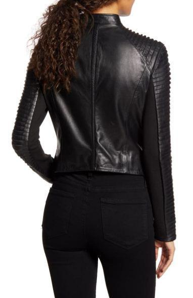 Azra Statement Sleeve Leather Moto Jacket