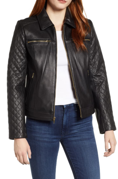 Quilted Lambskin Leather Jacket