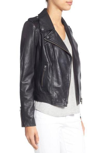 Donna Lambskin Leather Moto Jacket