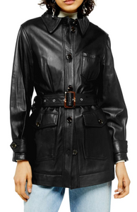Casey Belted Leather Jacket