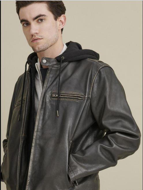 Alan Leather Jacket with Hood