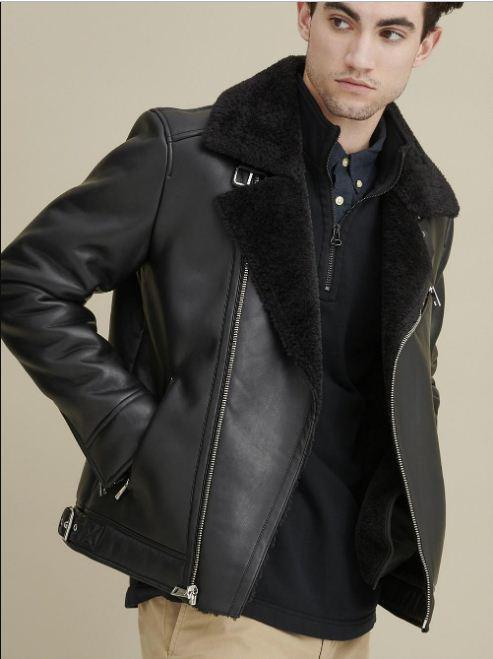 Asymmetrical Faux Shearling Leather Jacket