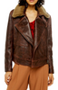 Shearling Collar Leather Jacket