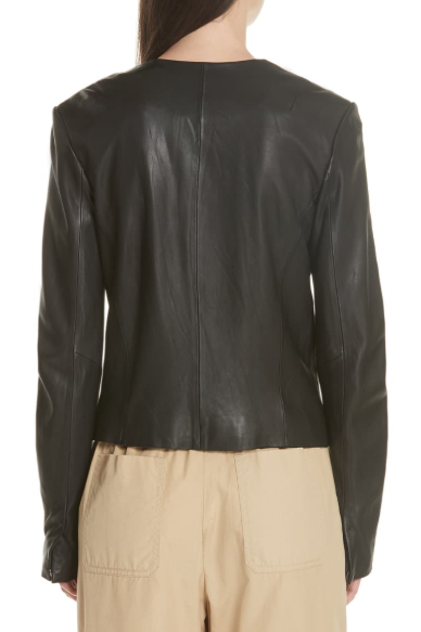 Zip Cross Front Leather Jacket