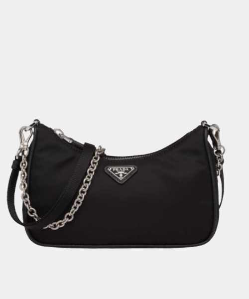 Chain-embellished leather and recycled-nylon shoulder bag
