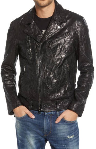 John Varvatos Regular Fit Lambskin Leather Jacket