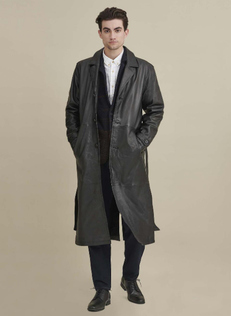 Oliver Belted Leather Trench Coat