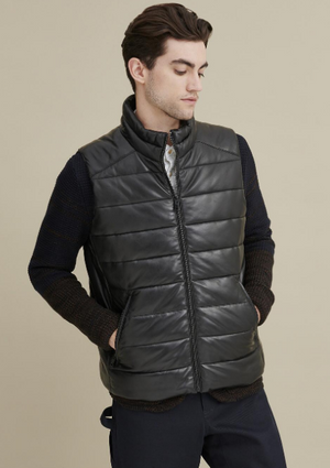Keith Leather Puffer Vest