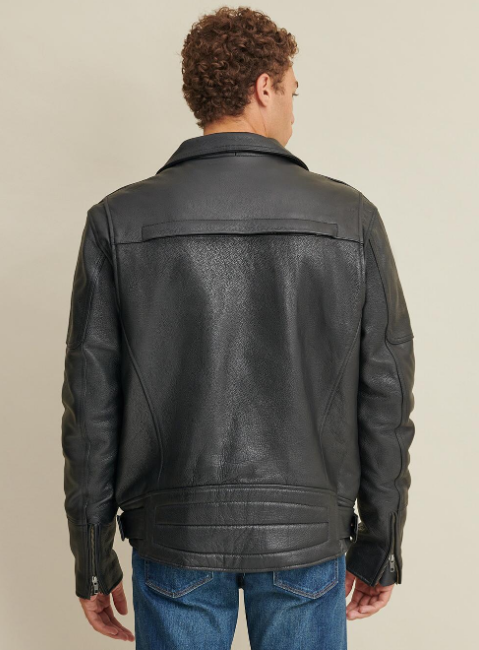Big & Tall Rider Leather Jacket with Padded Lining