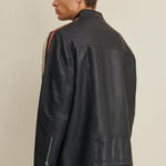 Big & Tall Motorcycle Faux-Leather Jacket with Stripe
