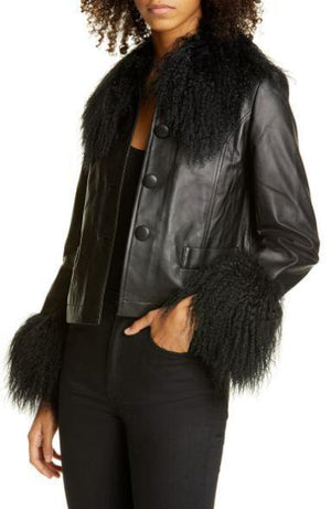 SAKS POTTS Contrast Trim Genuine Shearling Short Jacket