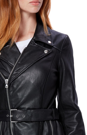 Dita Belted Leather Jacket