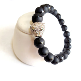 Men's Black Panther Gemstone Bracelet