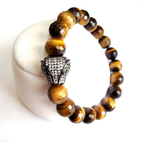 Men's Tigers Eye Panther Gemstone Bracelet