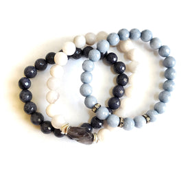Midnight Stacking Gemstone Bracelet Set