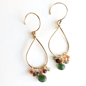 Warm Gemstone Teardrop Earrings