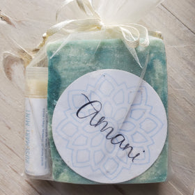 Gift Set: Chapstick & Vegetarian Soap--Rosemary Mint Scent