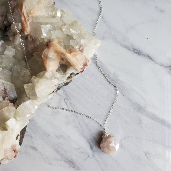Moonstone Hexagon Pendant Necklace