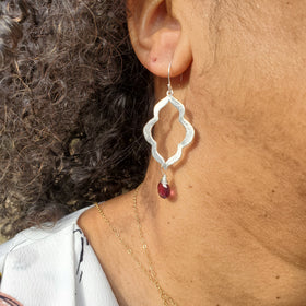 Garnet Brushed Jasmine Earrings