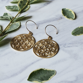 Brushed Gold Filigree Earrings