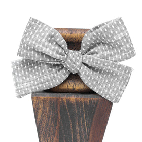 Chambray Gray Union Dot-Little Lady Hair Bow