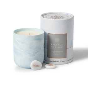 Gift Candle Black Tea and Bergamot Scent with Balance Keepsake Stone