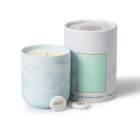Gift Candle Rosemary Mint Scent with Courage Keepsake Stone