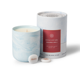 Gift Candle Sandalwood Vanilla Scent with Discover Keepsake Stone