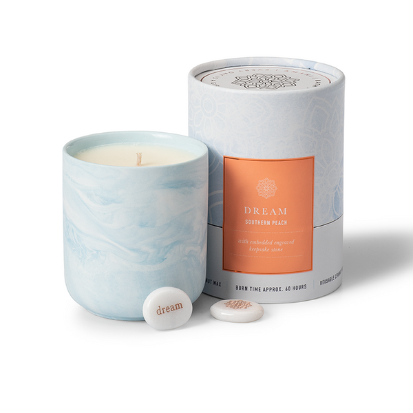 Gift Candle Southern Peach Scent with Dream Keepsake Stone
