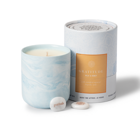 Gift Candle Milk & Honey Scent with Gratitude Keepsake Stone
