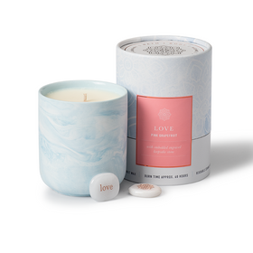 Gift Candle Pink Grapefruit Scent with Love Keepsake Stone