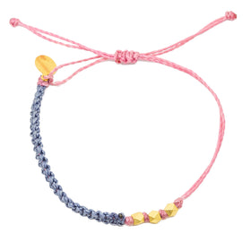 Macrame String Bracelet- Wildflower Colors in Silver