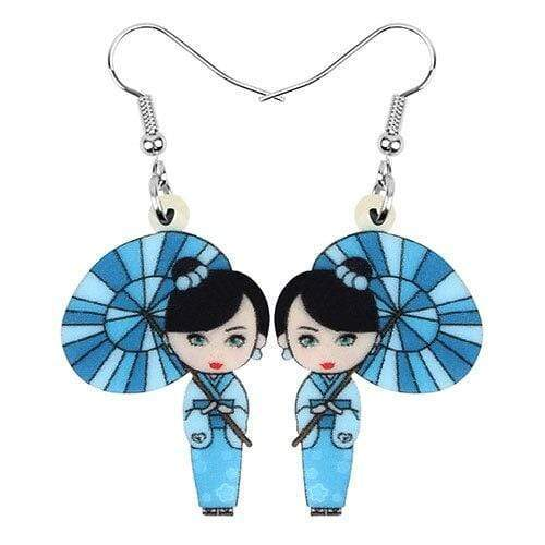 Blue Geisha </br> Japanese Earrings
