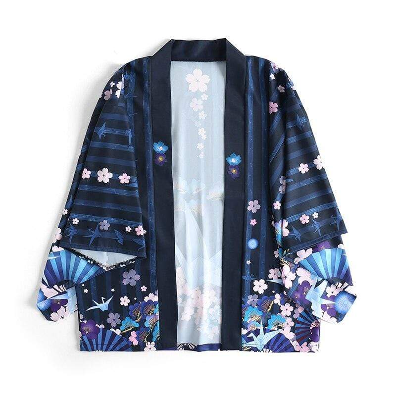 Blue Pink Flowers </br> Haori Women