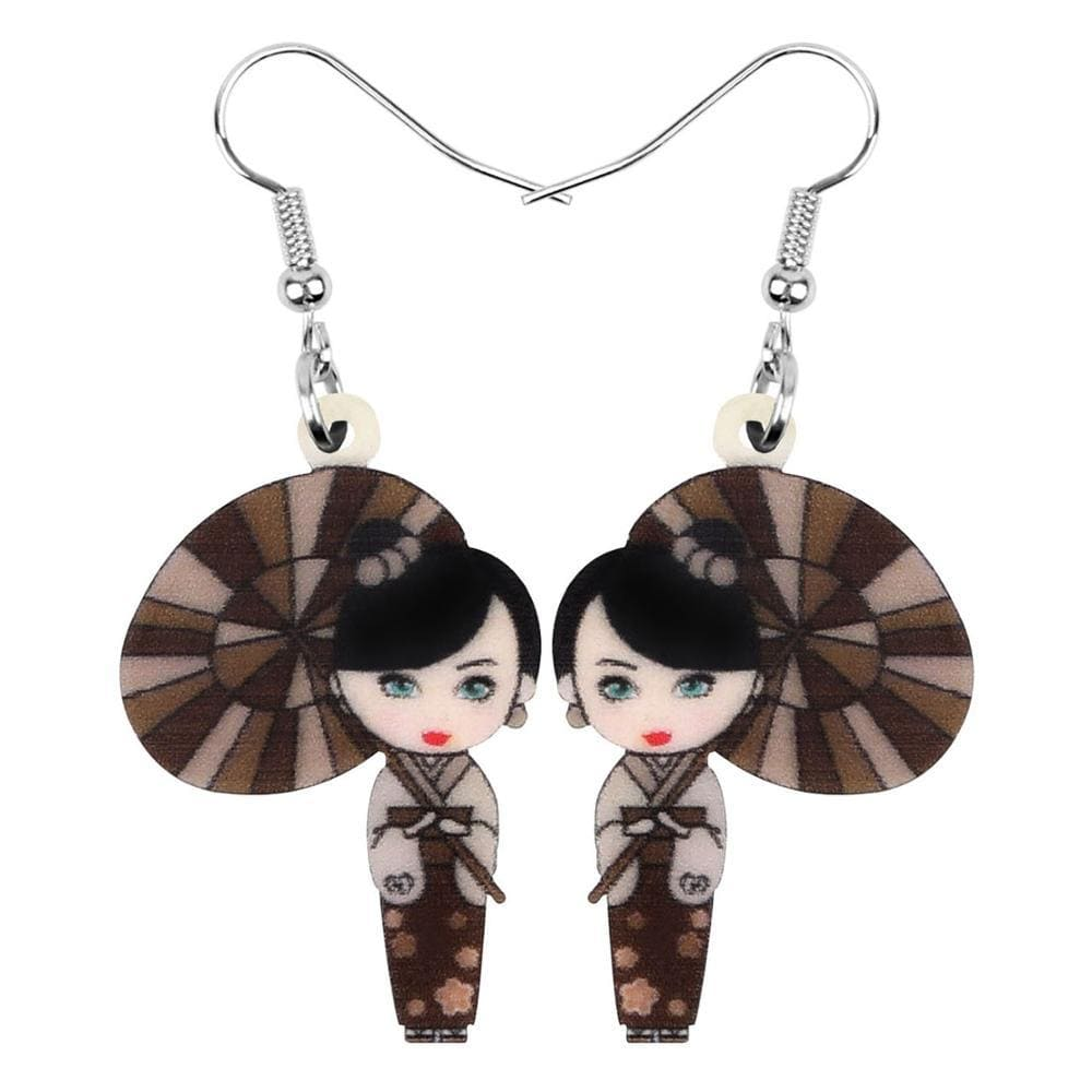 Brown Geisha </br> Japanese Earrings