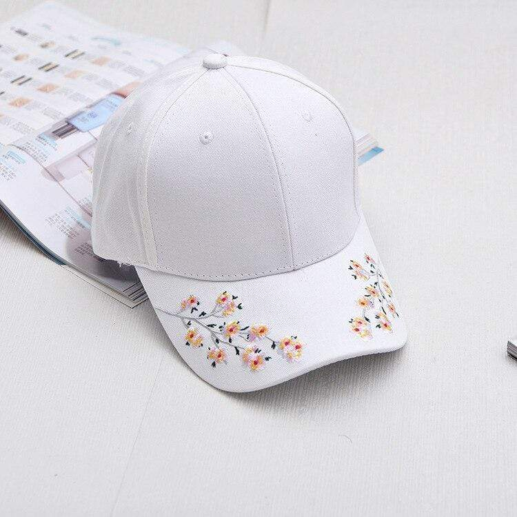 Japanese Cap YIFEI Fashion Hat Cotton Baseball Cap Plum Blossom Embroidery Cap Hip hop Cap Wind restoring ancient ways Cap gifts for woman