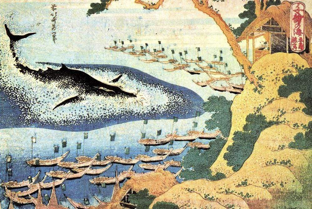Ocean Landscape and whaling Print </br> Japanese Woodblock print