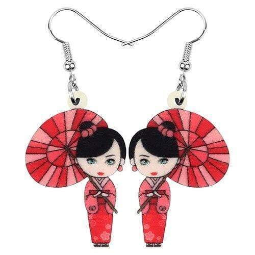 Red Geisha </br> Japanese Earrings