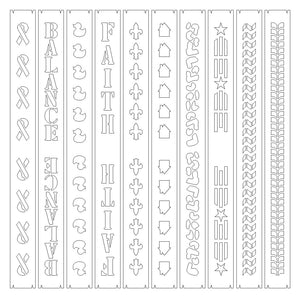"SVG Cutwork 1"" Key Fob Bundle SET #3 - 10 SVG files for creating cork fabric/Kraft-Tex/marine vinyl overlays"