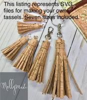 SVG files for cutting Cork Fabric Tassels (7 sizes included) - zipper pulls