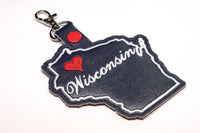 Wisconsin state snap tab - DIGITAL DOWNLOAD - In The Hoop Embroidery Machine Design - key fob - keychain - luggage tag