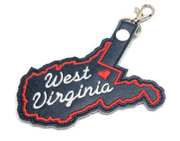 West Virginia state snap tab - DIGITAL DOWNLOAD - In The Hoop Embroidery Machine Design - key fob - keychain - luggage tag