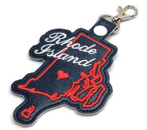 Rhode Island state snap tab - DIGITAL DOWNLOAD - In The Hoop Embroidery Machine Design - key fob - keychain - luggage tag