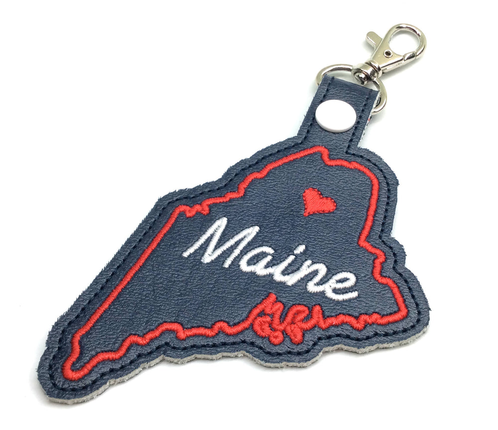 Maine state snap tab - DIGITAL DOWNLOAD - In The Hoop Embroidery Machine Design - key fob - keychain - luggage tag