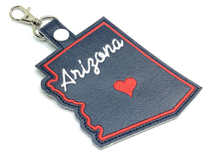 Arizona state snap tab - DIGITAL DOWNLOAD - In The Hoop Embroidery Machine Design - key fob - keychain - luggage tag