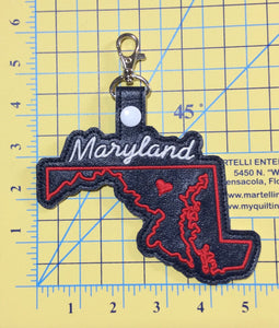 Maryland state snap tab - DIGITAL DOWNLOAD - In The Hoop Embroidery Machine Design - key fob - keychain - luggage tag